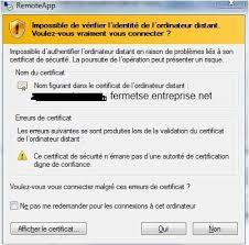 connexion bureau distance impossible resolu comment générer un certificat auto signé pour une ferme tse