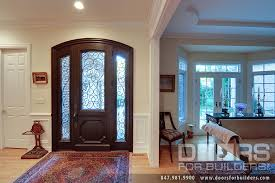 Two Panel Solid Wood Interior Doors Custom Solid Mahogany Wood Door With Two Sidelites And Wrought