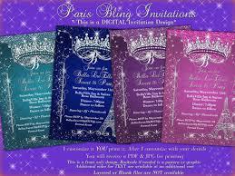 paris bling invitation sweet 16 invitation quinceanera