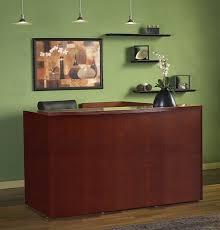 Mayline Luminary Wood Veneer L Shaped Receptionist Desk