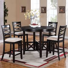 dining room round black polished oak wood dining table with