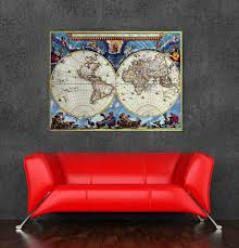 Posters For Home Decor by High Quality World Map Oil Painting Canvas Vintage Poster For Home