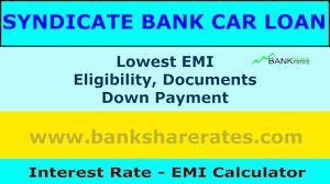 syndicate bank car loan interest rate 9 40 july 2017 emi