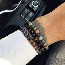 black bracelet men images Online shop mcllroy natural black stone beads bracelet men jpg