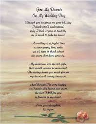 personalized poem for mother father from daughter on her wedding
