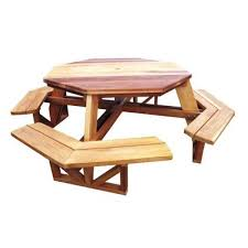 Red Cedar Octagon Walk In Picnic Table by Octagon Picnic Table Downloadable Plan