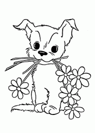 cute puppy flower coloring kids animal coloring