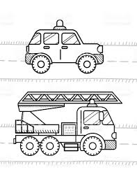 cars coloring book for kids firetruck police stock vector art