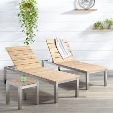 Outdoor Chaise Lounges Macon 3 Piece Teak Outdoor Chaise Lounge Chair Set Whitewash