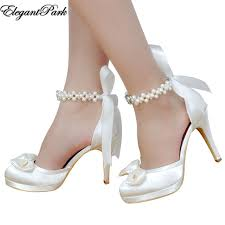 wedding shoes heels woman high heel wedding shoes white ivory toe platform