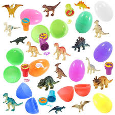 dinosaur easter eggs 12 prefilled easter eggs with dinosaur toys assorted colors
