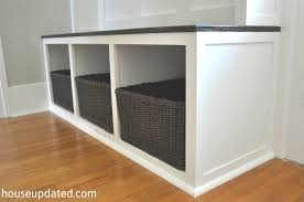 Storage Bench With Baskets Attractive Storage Bench With Cubbies How To Build An Entry Bench