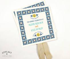program fan talavera tile wedding fan programs with wooden stick