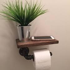 Rustic Industrial Bathroom by Industrial Toilet Paper Holder With Shelf Plumbing Pipe