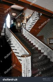 ghost on stairs haunted stanley hotel stock photo 111787217