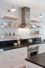 Floating Shelves Kitchen by Blond Floating Shelves On Shiplap Walls Transitional Kitchen
