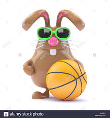 easter plays 3d chocolate easter rabbit plays basketball stock photo 69703517