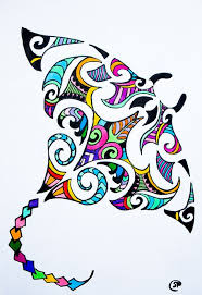 maori design stingray colorful stingray drawing available for