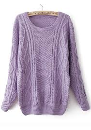 purple sweater purple neck sleeve wool blend sweater pullovers