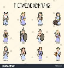 twelve olympians icons set greek pantheon stock vector 593512970