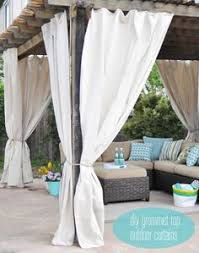 Cheap Outdoor Curtains For Patio Easy Outdoor Curtain Diy Tutorial Made From Lowes U0027 Canvas Drop