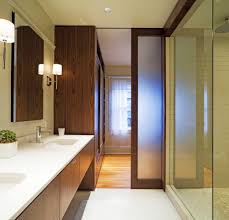 modern bathroom design ideas showcasing wooden pocket door with