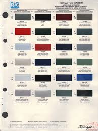 aston martin paint chart color reference