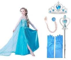 frozen costume 5pcs elsa princess frozen dress costume with wig wand gloves and