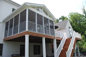 Screened In Deck Plans Elevated Screened Porch With Deck And Stairs Archadeck Outdoor