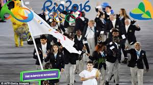Ceremony Flag Refugee Olympic Team Walk Into Opening Ceremony As They March