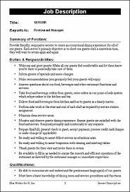 sle resume for cleaning supervisor responsibilities restaurant restaurant job description templates f b pinterest