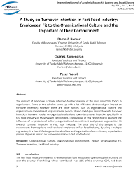 a study on turnover intention in fast food industry employees