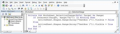 worksheet shapes range how to popup text box with a single click using vba in microsoft