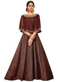 stylish dress vipul women s party wear brown chandan silk dress partygown