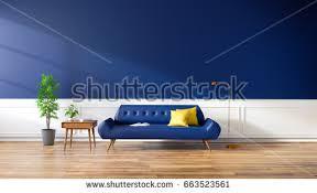 modern interior living room blue sofa stock illustration 663523561