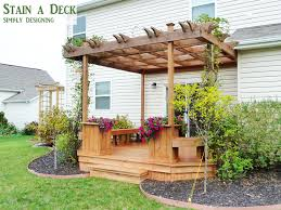 Deck With Pergola by How To Stain A Deck And Pergola