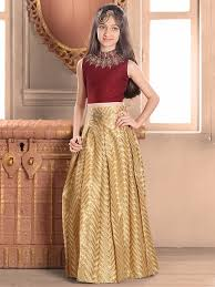 maroon raw silk choli suit buy girls indian wear at g3 fashion