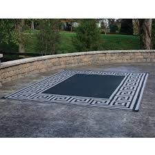 Awning Mats Patio Mat Polypropylene Greek Motif Design 9 U0027x12 U0027 Black