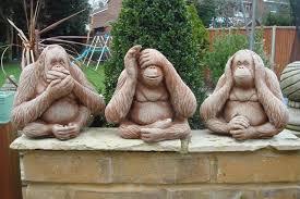 set of 3 cast monkey statues see hear speak no evil