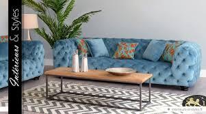 habillage canapé canapé lounge en pin massif et habillage tissu bleu givré