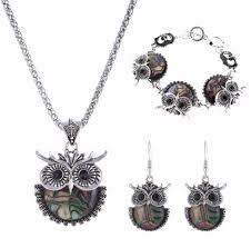 owl jewelry necklace images Vintage abalone shell owl jewelry set jpg