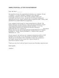 Business Solicitation Letter by Sample Proposal Letter For Partnership