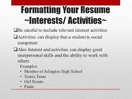 Interest Activities Resume Examples by Basic Resume Writing Ppt Download
