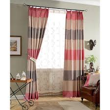 Pink Pleated Curtains Print Horizontal Striped Burlap Long Pinch Pleated Curtains
