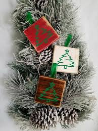 rustic christmas ornaments set of 3 wooden handmade christmas