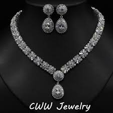 wedding necklace earrings images Bridal cz crystal necklace earring wedding jewelry jpg