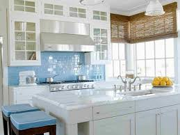 white cabinets blue kitchen island traditional l shaped open