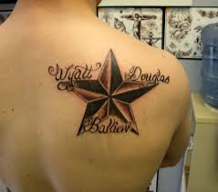 nautical with names lettering on s shoulder blade