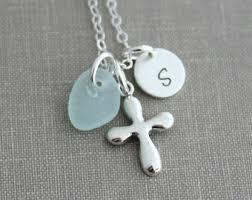 glass cross necklace images Sea glass cross etsy jpg