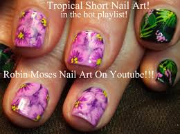purple flower nails tutorial tropical nail art design for short